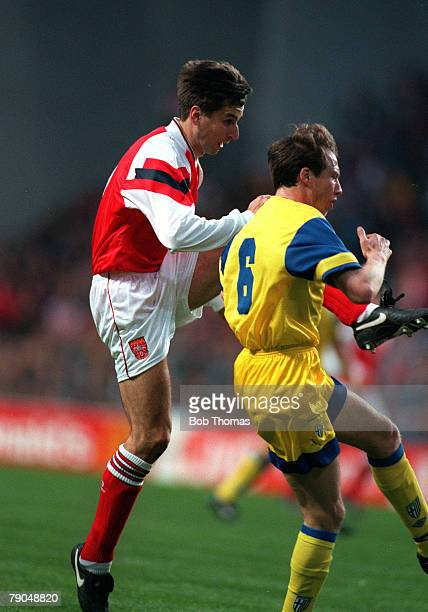 Football, UEFA Cup Winners Cup Final, Copenhagen, Denmark, 4th May 1994, Arsenal 1 v Parma 0, Arsenal's Alan Smith scores the winning goal past...