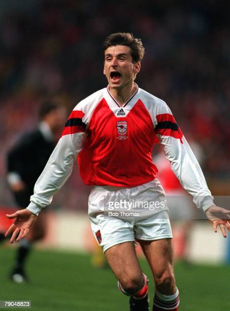 Football, UEFA Cup Winners Cup Final, Copenhagen, Denmark, 4th May 1994, Arsenal 1 v Parma 0, Arsenal's Alan Smith celebrates after scoring the...