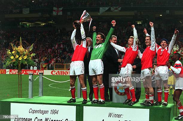 Football, UEFA Cup Winners Cup Final, Copenhagen, Denmark, 4th May 1994, Arsenal 1 v Parma 0, Arsenal captain Tony Adams raises the trophy as he...