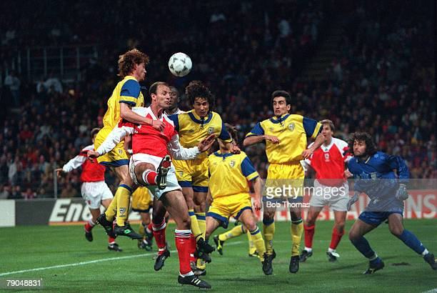 Football UEFA Cup Winners Cup Final Copenhagen Denmark 4th May 1994 Arsenal 1 v Parma 0 The Parma defence attempt to clear a corner kick despite the...