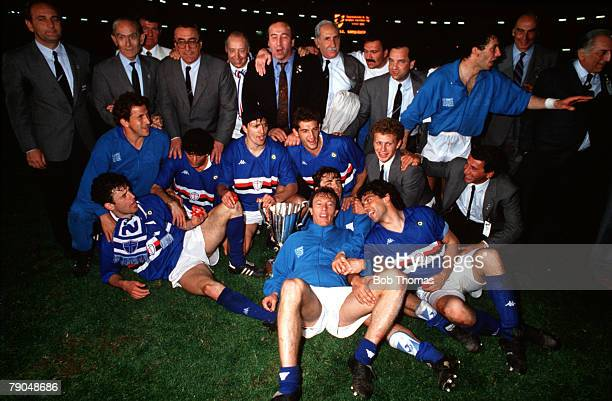 Football UEFA Cup Winners Cup Final Gothenburg Sweden 10th May 1990 Sampdoria 2 v Anderlecht 0 The Sampdoria team and officials celebrate with the...