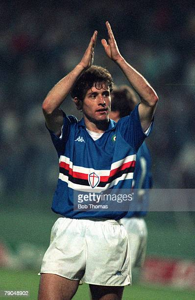 Football UEFA Cup Winners Cup Final Gothenburg Sweden 10th May 1990 Sampdoria 2 v Anderlecht 0 Sampdoria's Amadeo Carboni celebrates victory at the...