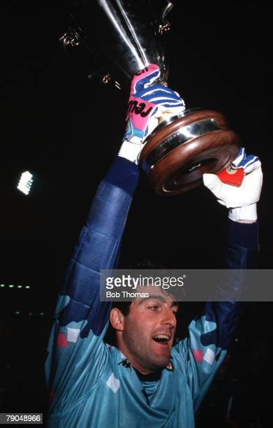 Football UEFA Cup Winners Cup Final Gothenburg Sweden 10th May 1990 Sampdoria 2 v Anderlecht 0 Sampdoria goalkeeper Gianluca Pagliuca holds the...