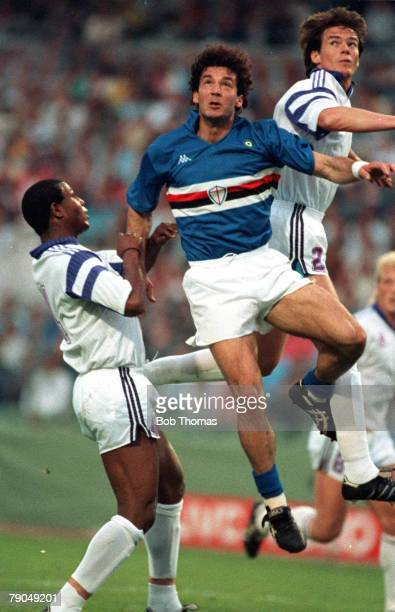 Football UEFA Cup Winners Cup Final Gothenburg Sweden 10th May 1990 Sampdoria 2 v Anderlecht 0 Sampdoria's Gianluca Vialli jumps for a header