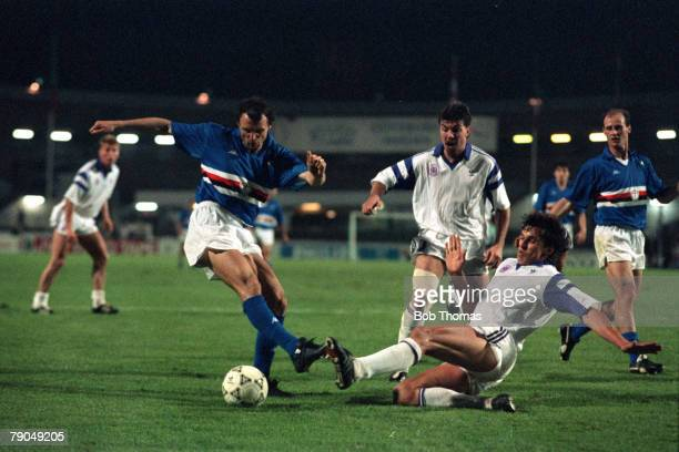 Football UEFA Cup Winners Cup Final Gothenburg Sweden 10th May 1990 Sampdoria 2 v Anderlecht 0 Sampdoria's Pietro Vierchowod is challenged by...