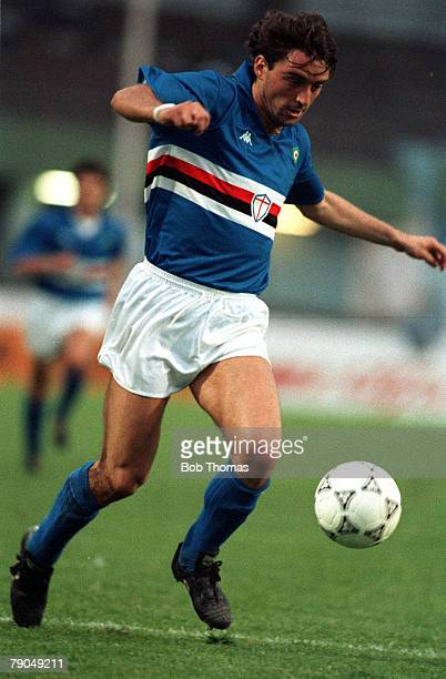 Football UEFA Cup Winners Cup Final Gothenburg Sweden 10th May 1990 Sampdoria 2 v Anderlecht 0 Sampdoria's Roberto Mancini
