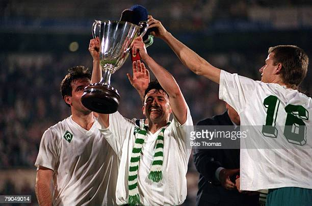 Football UEFA Cup Winners Cup Final Lisbon Portugal 6th May 1992 Monaco 0 v Werder Bremen 2 Bremens Klaus Allofs who scored the first goal holds the...