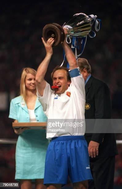Football UEFA Cup Winners Cup Final Paris France 10th May 1995 Arsenal 1 v Real Zaragoza 2 Real Zaragoza captain Miguel Pardeza lifts the trophy