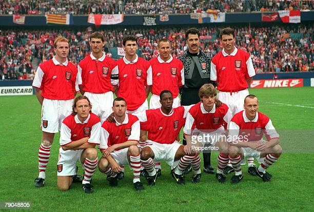 Football UEFA Cup Winners Cup Final Paris France 10th May 1995 Arsenal 1 v Real Zaragoza 2 The Arsenal team lineup together for a group photograph...