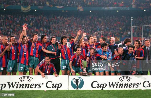 Football, UEFA Cup Winners Cup Final, Rotterdam, Holland, 14th May 1997, Barcelona 1 v Paris St Germain 0, The Barcelona players and officials...