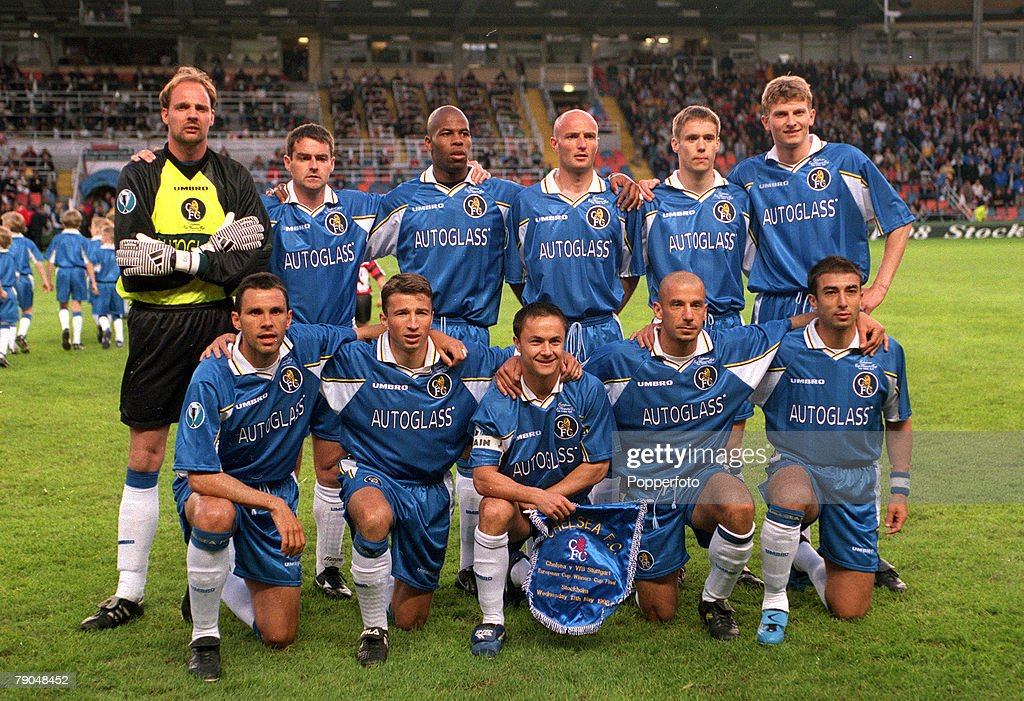Football, UEFA Cup Winners Cup Final, Stockholm, Sweden, 13th May 1998, Chelsea 1 v Stuttgart 0, The Chelsea team line-up together for a group photograph prior to the match, Back Row L-R: Ed De Goey, Steve Clarke, Michael Duberry, Frank LeBoeuf, Danny Granville, Tore Andre Flo, Front Row L-R: Gustavo Poyet, Dan Petrescu, Dennis Wise, Gianluca Vialli and Roberto Di Matteo