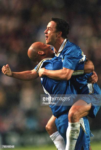 Football, UEFA Cup Winners Cup Final, Stockholm, Sweden, 13th May 1998, Chelsea 1 v Stuttgart 0, Chelsea captain Dennis Wise jumps on Player-Manager...