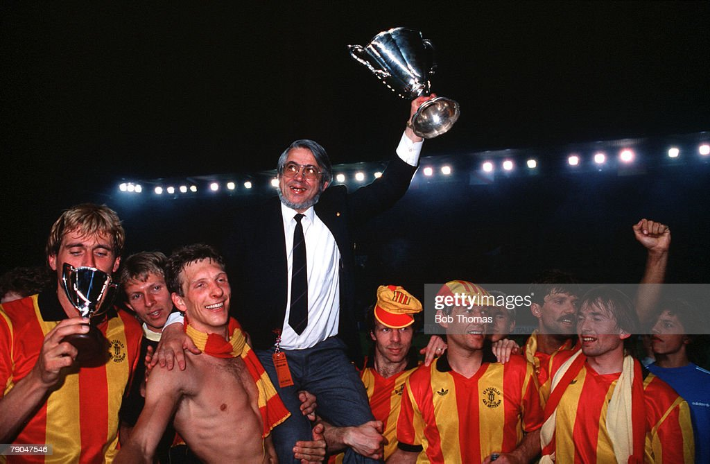 Football. UEFA Cup Winners Cup Final. Strasbourg, France. 11th May 1988. Mechelen 1 v Ajax Amsterdam 0. The Mechelen team and officials celebrate their victory. : News Photo