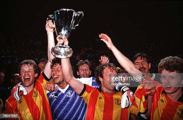 Football, UEFA Cup Winners Cup Final, Strasbourg, France, 11th May 1988, Mechelen 1 v Ajax Amsterdam 0, Mechelen captain Leo Clijsters holds the...