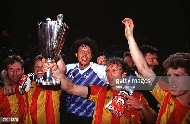 Football UEFA Cup Winners Cup Final Strasbourg France 11th May 1988 Mechelen 1 v Ajax Amsterdam 0 Mechelen captain Leo Clijsters holds the trophy as...