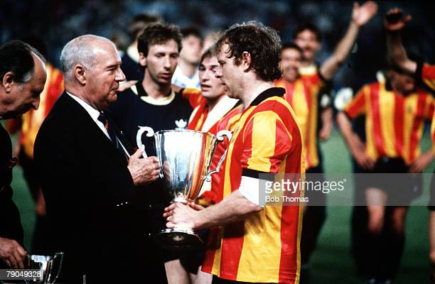 Football, UEFA Cup Winners Cup Final, Strasbourg, France, 11th May 1988, Mechelen 1 v Ajax Amsterdam 0, Mechelen captain Leo Clijsters is presented...