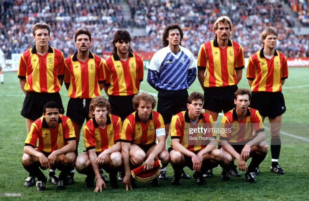 Football. UEFA Cup Winners Cup Final. Strasbourg, France. 11th May 1988. Mechelen 1 v Ajax Amsterdam 0. The Mechelen team line-up together for a group photograph prior to the match. Back Row L-R: Graeme Rutjes, Geert Deferm, Eliahu Ohana, Michel Preud'Hom : News Photo