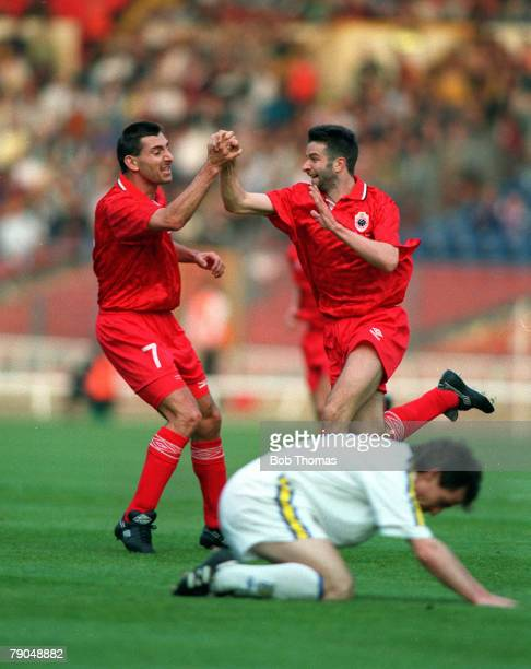 Football, UEFA Cup Winners Cup Final, Wembley, London, England, 12th May 1993, Parma 3 v Antwerp 1, Antwerp's Francis Severeyns is congratulated by...
