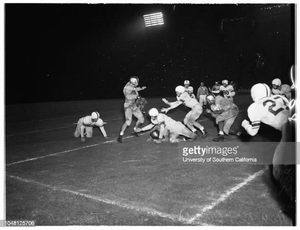 Football, University of California, Los Angeles versus Texas A&m University, 21 September 1951. Joe Sobol;Bill Tidwell;Gale Lary;Luther Keyes;Ted...