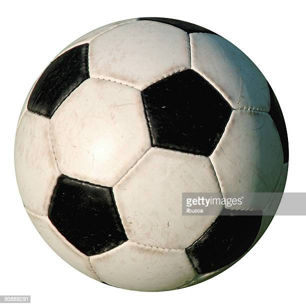football - used isolated old-style soccer ball on white background - sports ball stock pictures, royalty-free photos & images