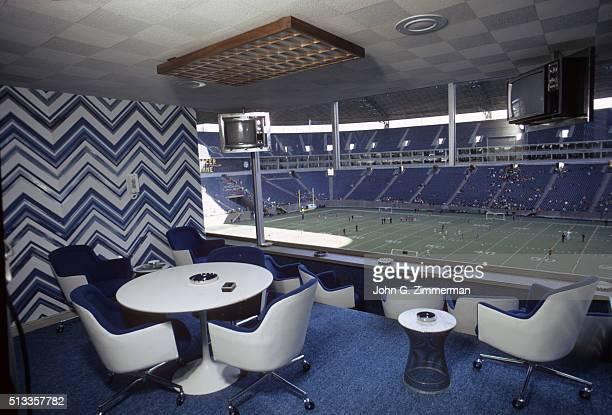 View of Dallas Cowboys fans' Circle Suites box seats at Texas Stadium Irving TX CREDIT John G Zimmerman