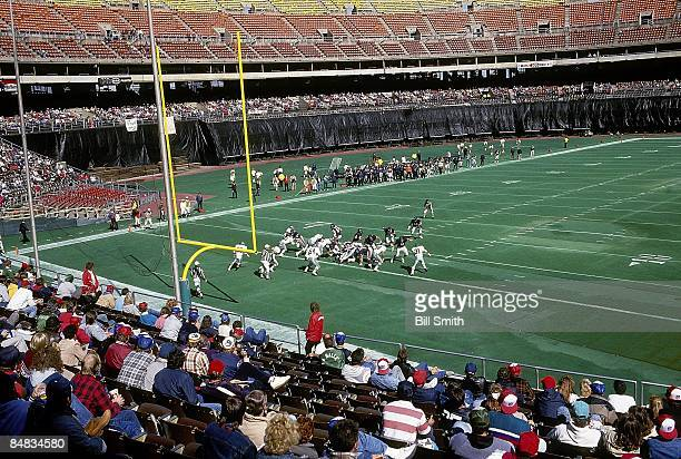 View of empty stands at Veterans Stadium during Philadelphia Eagles vs Chicago Bears game Teams used replacement players during 1987 NFL strike Scab...