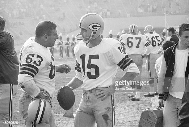 View of Green Bay Packers QB Bart Starr and Fuzzy Thurston on sidelines before game vs San Francisco 49ers at Kezar Stadium San Francisco CA CREDIT...