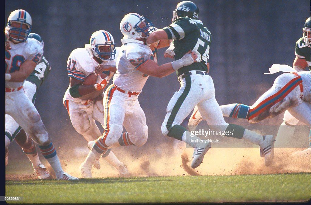View Of Miami Dolphins Bob Kuechenberg In Action Blocking Vs Ny