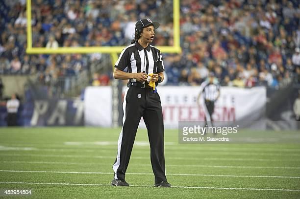 View of referee Maia Chaka on field during Philadelphia Eagles vs New England Patriots preseason game at Gillette Stadium Foxborough MA CREDIT Carlos...