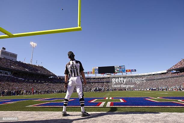 View of referee watching kick attempt near goalpost during Buffalo Bills vs San Diego Chargers High Definition Mitsubishi Electric LED electronic...