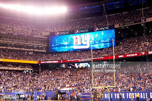 View of scoreboard with NY logo during New York Giants vs Dallas Cowboys game at MetLife Stadium East Rutherford NJ CREDIT Carlos M Saavedra