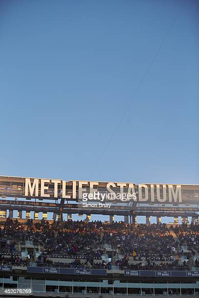 View of stadium sign with logo at MetLife Stadium during game between Dallas Cowboys and New York Giants East Rutherford NJ CREDIT Simon Bruty