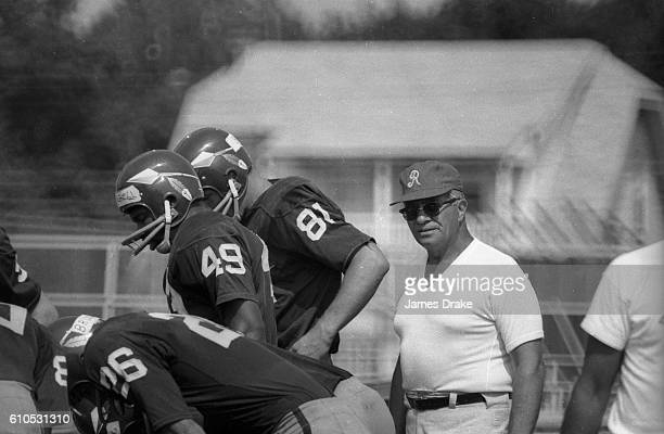 View of Washington Redskins head coach Vince Lombardi overseeing drills during training camp photo shoot at Dickinson College Carlisle PA CREDIT...