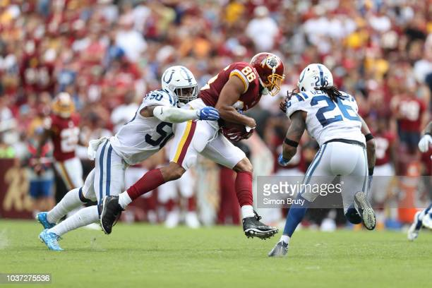 Washington Redskins Jordan Reed in action vs Indianapolis Colts Anthony Walker and Clayton Geathers at FedEx Field. Landover, MD 9/16/2018 CREDIT:...