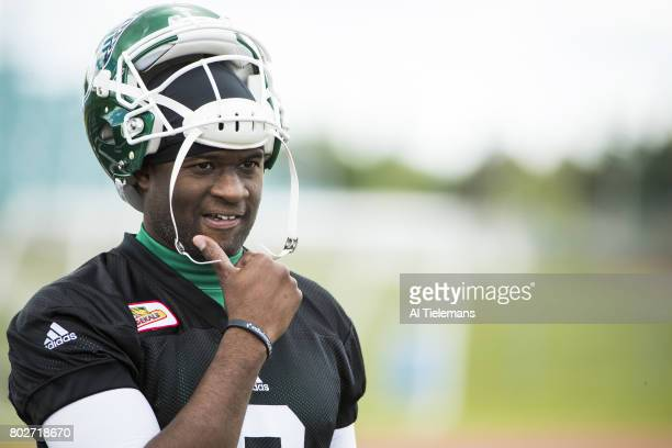 Where Are They Now Closeup portrait of former NFL QB and current Saskatchewan Roughriders QB Vince Young during practice Saskatoon Canada 5/27/2017...