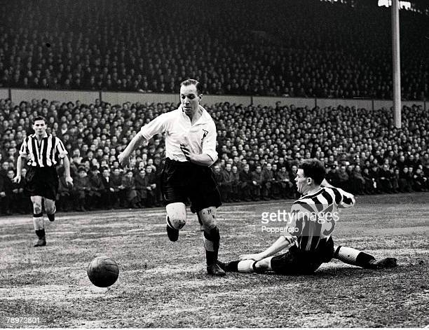 Football White Hart Lane London FA Cup 4th Round Tottenham Hotspur 0 v Newcastle United 3 2nd February 1952 Tottenham Hotspur's Eddie Bailey on the...