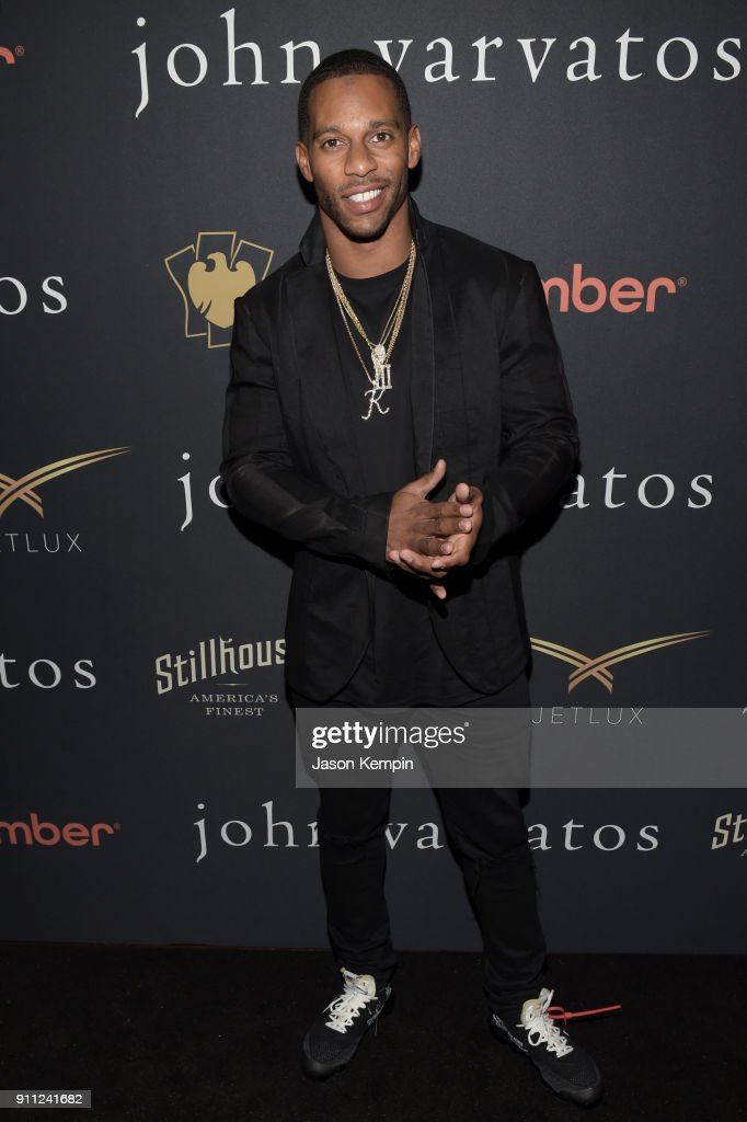 Football wide receiver Victor Cruz attends the JVxNJ Launch Event at the Angel Orensanz Foundation on January 27, 2018 in New York City.