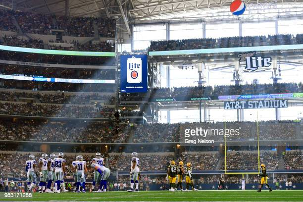 Wide view of Dallas Cowboys in huddle during game vs Green Bay Packers at ATT Stadium Arlington TX CREDIT Greg Nelson