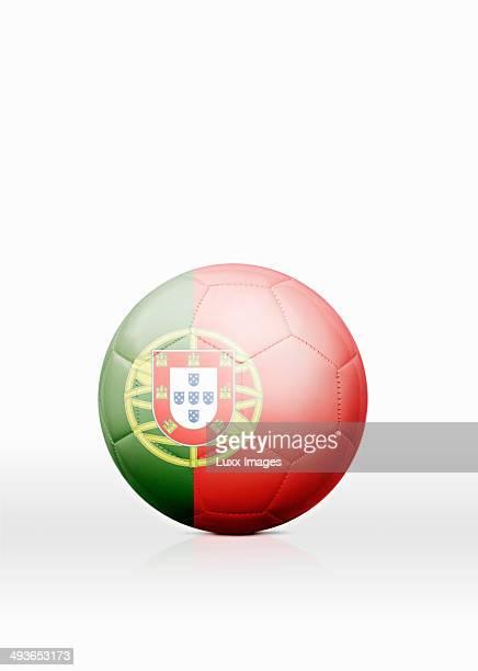 football with portuguese flag on it - bandeira de portugal imagens e fotografias de stock