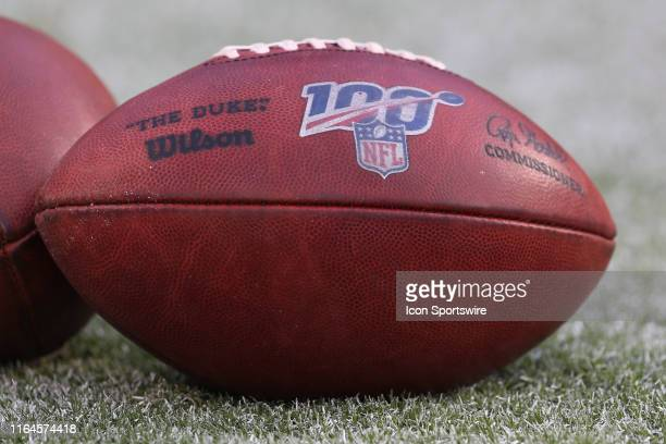 A football with the 100 year NFL logo before an NFL preseason game between the San Francisco 49ers and Kansas City Chiefs on August 24 2019 at...