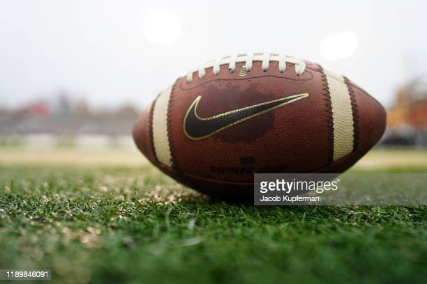 Football with the Nike logo before the game between the Charlotte 49ers and the Marshall Thundering Herd at Jerry Richardson Stadium on November 23,...