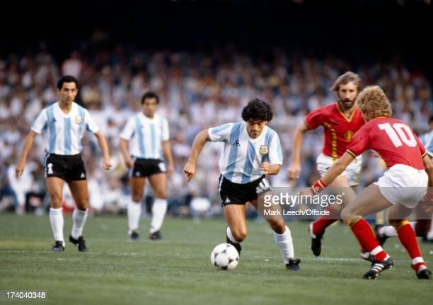 Football World Cup 1982 Argentina v Belgium Diego Maradona runs at the Belgians