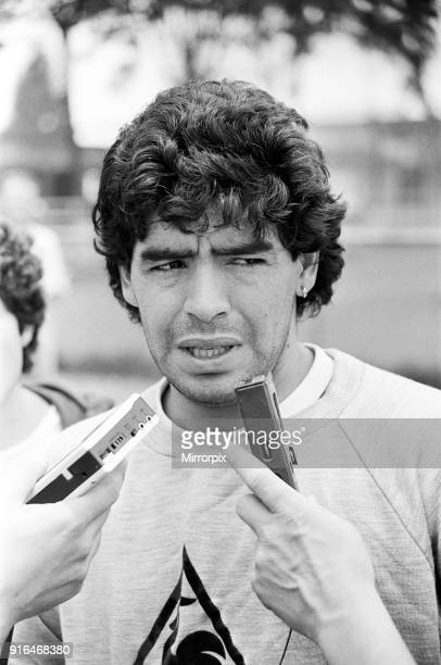 Football World Cup 1986 Diego Maradona of Argentina speaking to press 19th June 1986