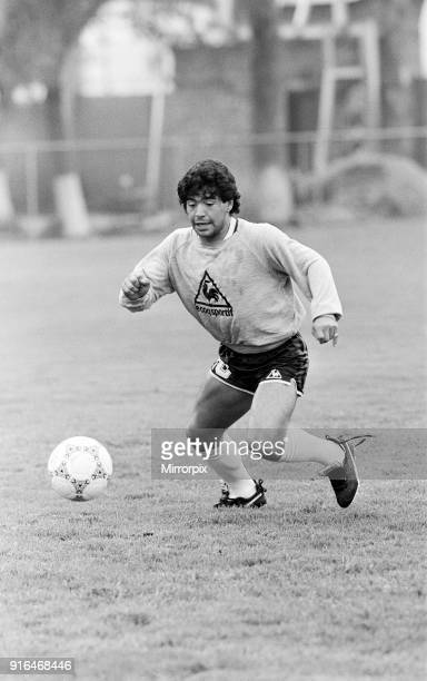 Football World Cup 1986 Diego Maradona of Argentina training in Mexico 19th June 1986