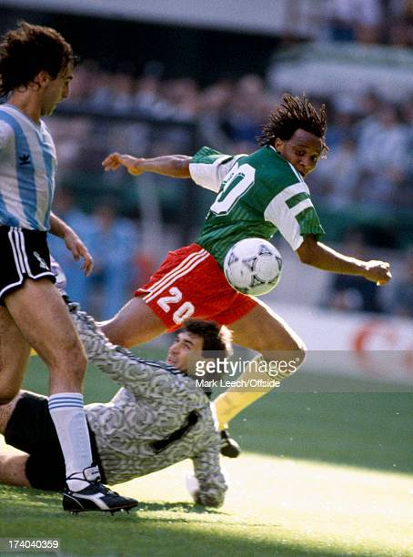 Football World Cup 1990 Argentina v Cameroon Emmanuel Makanaki lifts the ball over the goalkeeper