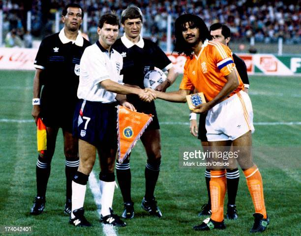 Football World Cup 1990 England v Holland Bryan Robson and Ruud Gullit shake hands before kick off