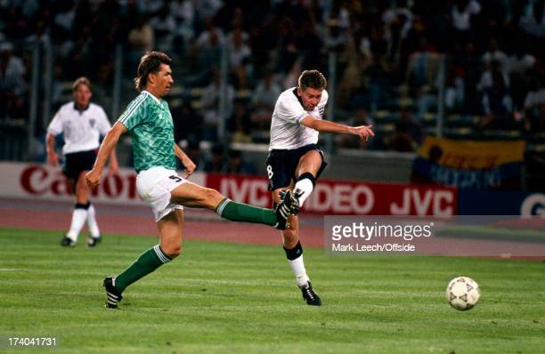 Football World Cup 1990 England v West Germany Chris Waddle fires in a shot