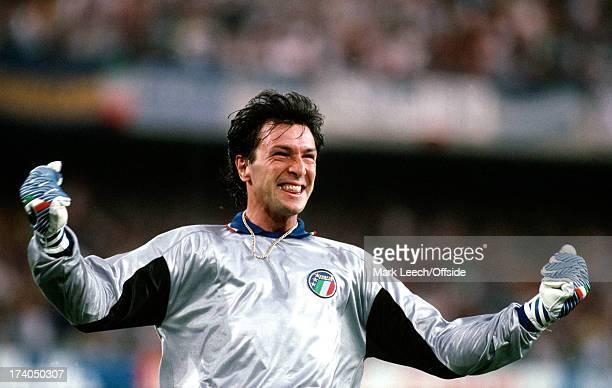 Football World Cup 1990 Italy v Argentina Italian goalkeeper Walter Zenga celebrates an Italian goal