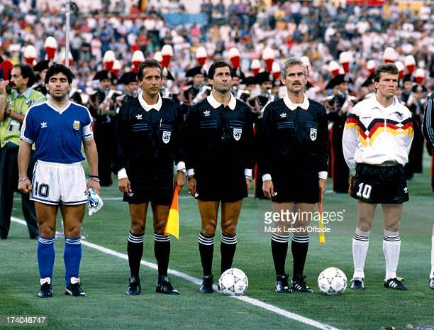 Football World Cup 1990 West Germany v Argentina Diego Maradona and Lother Matthaus line up either side of the match officials