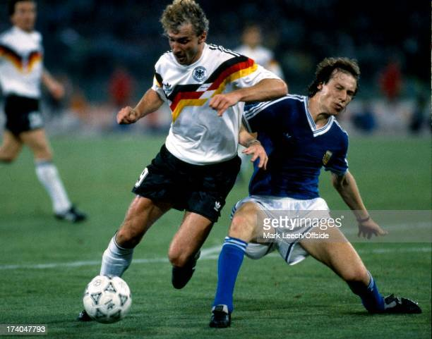 Football World Cup 1990 West Germany v Argentina Rudi Voeller is tackled by Roberto Sensini